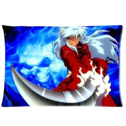 The Japanese Anime Comic Cartoon Series Inuyasha Personalized Custom Rectangle Soft Pillow Case Cover 20X30 (One Side) -Inuyasha Fighting Devil Weapons Knife Iron Broken Tooth Pattern Bule Fantasy Background Pillowcase