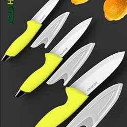 Aqua Hill 6-Piece Ceramic Knife Set With Sheath Including 6'' Chef'S Knife, 5'' Utility Knife And 4'' Paring Knife