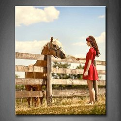 Brown Beautiful Young Woman On The Farm With Her Horse Fence Grassland Wall Art Painting The Picture Print On Canvas Animal Pictures For Home Decor Decoration Gift (Stretched By Wooden Frame,Ready To Hang)