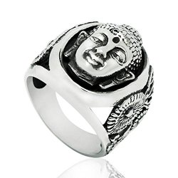Mens Stainless Steel Finger Rings Retro Buddha Face Black & White Size 9 - Adisaer Jewelry