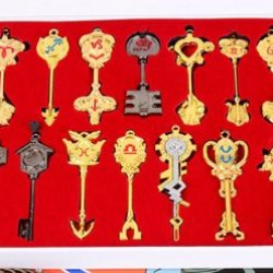 Nuoya001 New 22Pc Fairy Tail Star Key Blade Lucy Keychain Necklace Pendant Cosplay Set