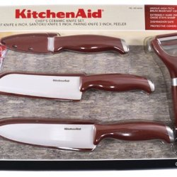 Kitchenaid 4 Piece Gourmet Chef'S Ceramic Knife Set With Blade Covers (Red)