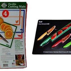 Flexible Cutting Mats And Komachi Hd Four Knife - Bundle Kitchen Gift Set