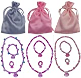 3 Princess Jewelry Dress up Sets (3 Unique Sets Each with a Necklace, Bracelet, & Ring in a Satin Bag)