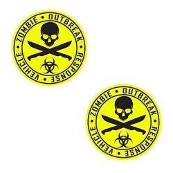 Auto Vynamics - Zorv-Machetes-10Bg-Gblayel - Gloss Black & Yellow 2-Color Vinyl Zombie Outbreak Response Vehicle (Zorv) Decal - Crossed Machetes Design - Matching Pair - (2) Piece Kit - 10.5-By-10.5-Inches