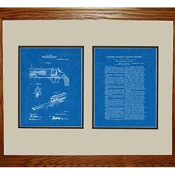 "Knife Attachment For Revolvers Patent Art Blueprint Print In A Honey Red Oak Wood Frame (16"" X 20"")"