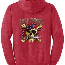 Tshirtsxl Men'S Loyal To None Graphic Pull Over Hoodie, Small, Heather Red