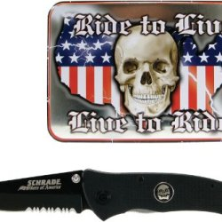 "Schrade Schbiket G10 Folding Knife With Skull Shield And ""Live To Ride, Ride To Live"" Biker Tin, Black"
