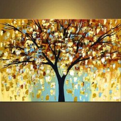 100% Hand-Painted Bestanvas Mi-Selling Quality Goods Free Shipping Wood Framed On The Back Knife Painted Gold Tree High Q. Wall Decor Landscape Oil Painting On Canvas