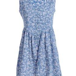 Anna-Kaci S/M Fit Blue Little Country And Prairie Floral Print Dip Waist Dress