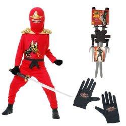 Red Ninja Avengers Series Ii Child Costume, Gloves, Ninja Weapon Backpack, M