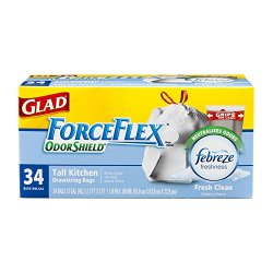Glad Forceflex Odorshield Tall Kitchen Drawstring Trash Bags, Fresh Clean, 13 Gallon, 34 Count (Pack Of 6)