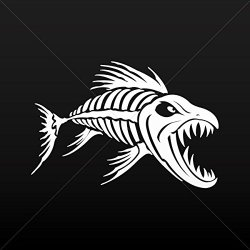 Sticker Decal Aggressive Fish Skeleton Tablet Vehicle Weatherproof Gar White (24 X 16.2 In)