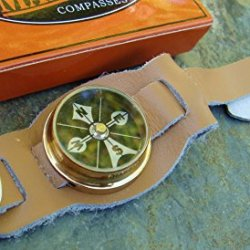 Marbles Leather Watchband With Brass Compass