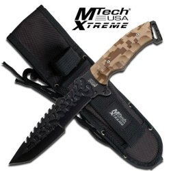 "Mx-8062Dm. Mtech Xtreme Full Tang Tactical Knife With Tanto Blade - Camo Mtech Xtreme Tactical Knife. 12"" Overall Length. Black Stainless Steel Blade Reverse Sawback Blade Desert Camo Handle Nylon Sheath Knife Fixed Blade Knife Hunting Sharp Edge Steel"