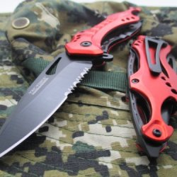 Tac-Force Assisted Opening Linerlock Belt Clip Red Fire Fighter A/O Speed Rescue Glass Breaker Knife