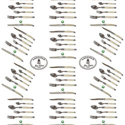 French Laguiole Dubost - Pearl - Complete 72-Pcs Flatware Set For 12 People (New Exclusive 6 Pcs Place Setting: Includes Round Tip Table/Butter Knife) - In Heavier 25/10 Stainless Steel (Original Cream White Color Full Family Quality Cutlery Table Dinner