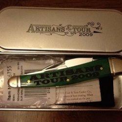 Case Knife, Artisans Tour 2009, 06755, Bermuda Green, Seahorse Whttlr