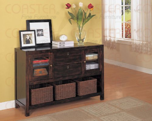 Image of Office Console Table Rich Tobbacco Storage Drawers (B008W1B9HC)