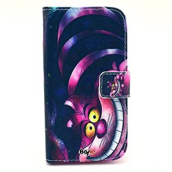 Bayke Brand / Motorola Google Moto G Smart Phone Case Fashion Pu Leather Wallet Flip Protective Skin Case With Stand With Credit Card Slots & Holder For Motorola Google Moto G (The Cheshire Cat Pattern)