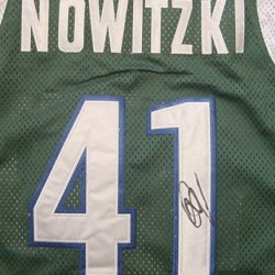 Dirk Nowitzki Dallas Mavericks Autographed Green #41 Jersey
