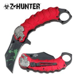 Zombie Tactical Black Assisted Opening Knife With Finger Ring Red W/ Pocket Clip (Limited Edition)