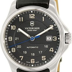 Victorinox Swiss Army Officer'S Men'S Black Dial Black Leather Strap Automatic Watch 241670