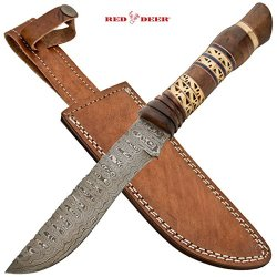 Dhk-414 Red Deer Damascus O4Moqg Dagger With Real Leather Sheath Wood & 8Lgwfetd Brass Folding Knife Edge Sharp Steel Ytkbio Tikos567 Bgf 7 Inch Blade Length - Zekcige Real Super Sharp, Damascus Steel12.10 Inch Overall Length - Full Tangreal Leather Sheat