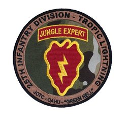 """25Th Infantry - U. S. Army Jungle Operations Training Center (Jotc) 4 1/2"""" Highly Detailed Embroidered Patch With Merrowed Edge And Wax Backing - Jungle Expert Patch - 25Th Infantry Division - Oahu, Hawaii - Tropic Lightning"""