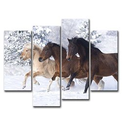4 Piece Wall Art Painting Three Horses Running In Snow Prints On Canvas The Picture Animal Pictures Oil For Home Modern Decoration Print Decor