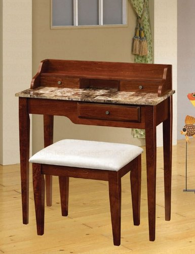 Image of Console Table with Stool Faux Marble Top in Cherry Finish (VF_AZ00-47739x29626)