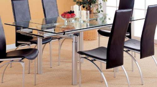 Image of Dining Table with Glass Top Metal Frame Peal Silver Finish (VF_AZ00-45948x29734)