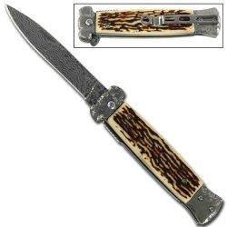 Striker Damascus Stag Tactical Pocket Knife