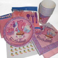 Pink First Birthday Cupcake Party Supplies - Plates, Napkins, Silverware, Cups, Tablecover & Matching Kiss Labels Favors