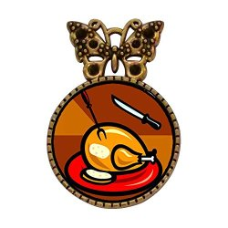 Ancient Style Gold-Plated Thanksgiving Turkey Knife Fork Bowknot Butterfly Round Pin Brooch