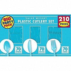 Amscan Caribbean Blue Value Window Box Cutlery Set, 210Ct