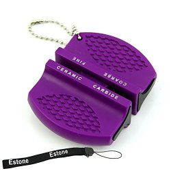 Estone® Mini Ceramic Rod Tungsten Steel Camp Pocket Kitchen Knife Sharpener Stone Tool (Purple)