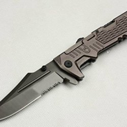 All Black Full Tang Swtooth Pocket Folding Skinner Knife B-998