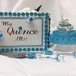 Sweet 15 Mis Quince Anos Guest Book Cake Topper Cake Knife Set Party Supplies