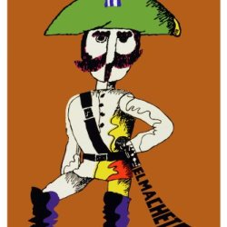 "11""X 14"" Poster. "" El Machete "" Animated Poster. Decor With Unusual Images. Great Cuban Room Art Decoration."
