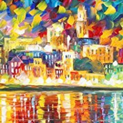 Modern Art Canva Colorful City Painting Knife Paintng Wall Art Canvas Unframed Painting 40X20In/100X50Cm