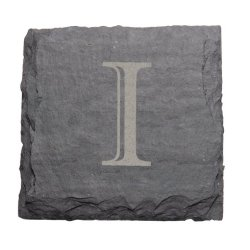 "J.K. Adams 4-Inch Square Monogrammed Initial Slate Coasters, Set Of 4, ""I"""