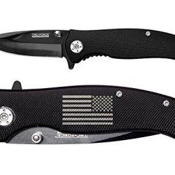 Us Military Battle Flag Engraved Tac-Force Tf-420Bk Black Speedster Assisted Opening Folding Pocket Knife By Ndz Performance