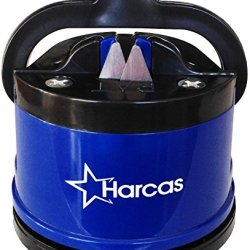 Best Knife Sharpener By Harcas - Sharpens All Kitchen Knives, Pruning Shears, Serrated Knives And Blender Blades. Made Of Long Lasting Tungsten Carbide Blades. Blue