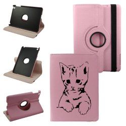 Gloomy Cat Ipad 2Nd Generation, 3Rd Generation, 4Th Generation Cover Synthetic Leather Rotating Ipad Case (Pink): 360 Degrees Multi-Angle Vertical And Horizontal Stand With Strap- Lifetime Warranty