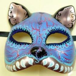 Blue Cat Figure Half Face Hand-Painted Paper Mache Mask