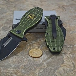 Tac Force Green Grenade Handle With Special Tactic Medallion Knife
