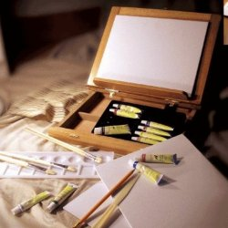 Artist Painting Set Deluxe In Wooden Box Easel With Acrylic Paint, Brushes, 3-Pc Canvas Panels, Palette & Palette Knife