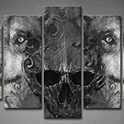5 Panel Wall Art Black And White Wolf Over And Human Skeleton Painting Pictures Print On Canvas Animal The Picture For Home Modern Decoration Piece (Stretched By Wooden Frame,Ready To Hang)