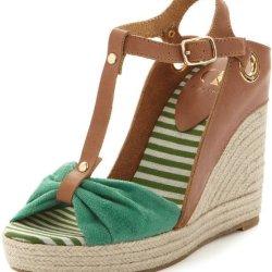 Kelsi Dagger Women'S Ricky Wedge Sandals In Cognac / Green Size 8